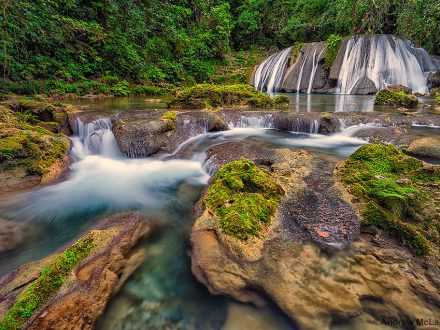 Reich Falls (also known as Reach Falls on the Driver's River near Port Antonio, Jamaica