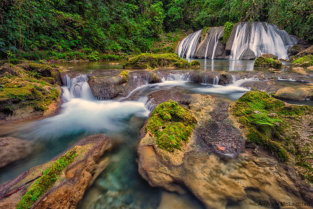 Reich Falls (also known as Reach Falls on the Driver's River near Port Antonio, Jamaica